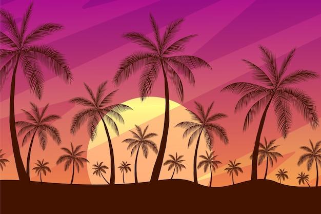 Fond de silhouettes de palmiers