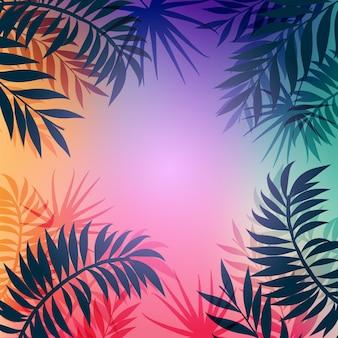 Fond avec des silhouettes de palmiers