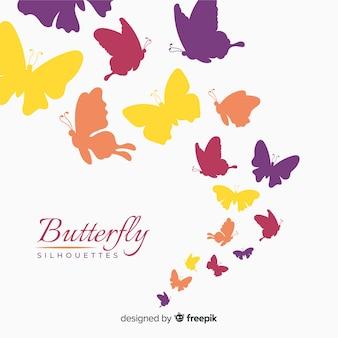 Fond de silhouettes de papillons colorés