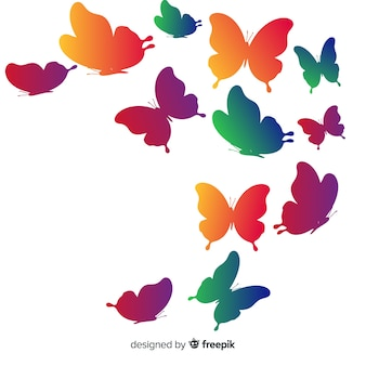 Fond de silhouettes de papillons dégradés