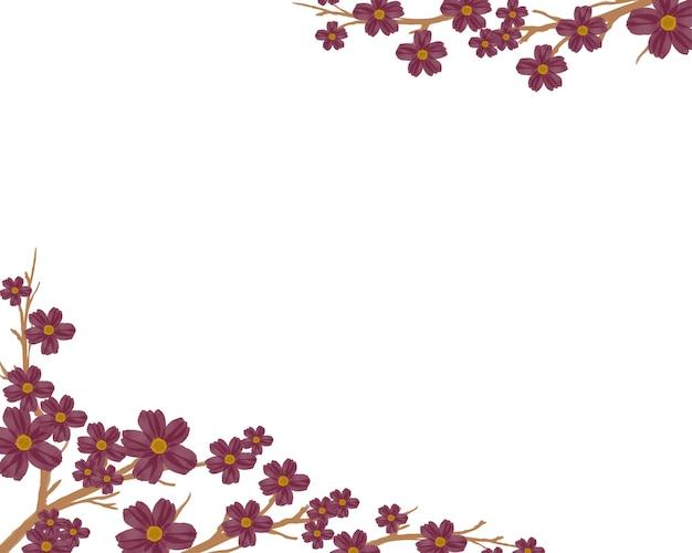 Fond simple avec bordure de fleur de fleur rouge