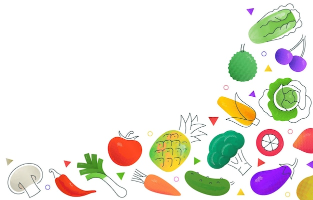 Fond simple avec divers fruits et légumes multicolores représentés