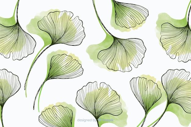 Fond simple avec des feuilles dessinées à la main
