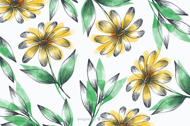 Fond simple avec des fleurs jaunes