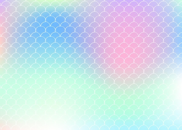Fond de sirène holographique avec des échelles de dégradé. transitions de couleurs vives. bannière et invitation en queue de poisson. motif sous-marin et marin pour une fête entre filles. dos arc-en-ciel avec sirène holographique.