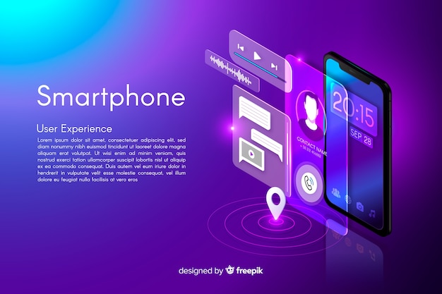 Fond de smartphone isométrique