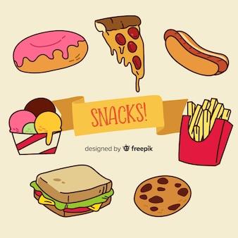 Fond de snacks dessinés à la main