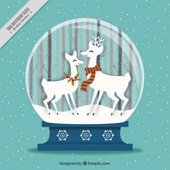 Fond snowball avec belle rennes