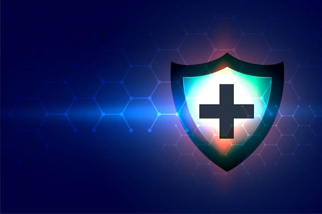 Fond de soins de santé avec signe de protection de bouclier médical