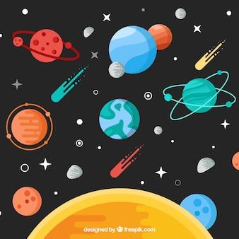 Fond de soleil avec des planètes et des météores dans un design plat