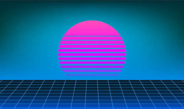 Fond de soleil rétro néon