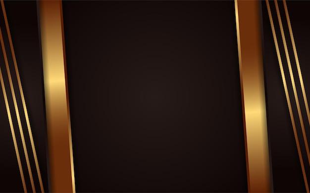 Fond sombre abstrait avec élément de lignes dorées simples
