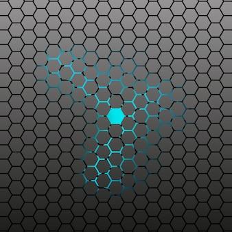 Fond sombre abstraite tuile hexagonale.