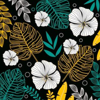 Fond sombre avec des fleurs et des feuilles tropicales