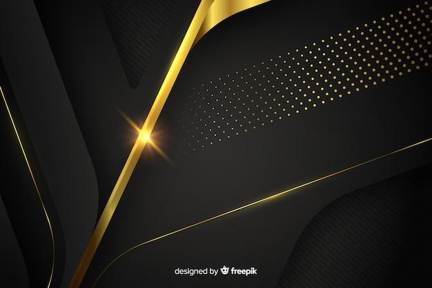 Fond sombre avec des formes abstraites dorées