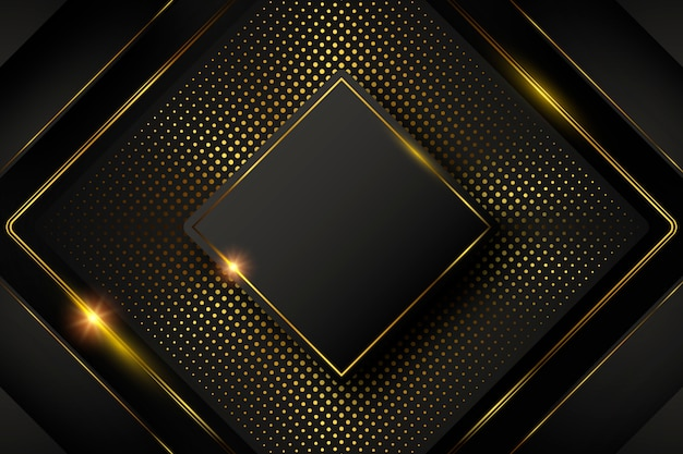 Fond sombre avec des formes et des éléments dorés