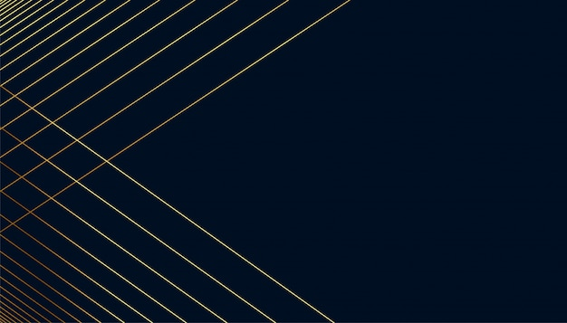 Fond sombre avec des formes de lignes dorées avec espace de texte