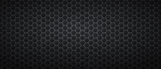 Fond sombre d'hexagones en nid d'abeille. carreaux dégradés noirs polygonaux posés en texture abstraite
