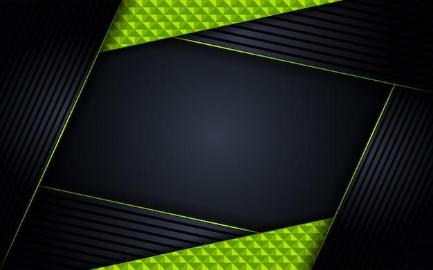 Fond sombre de luxe abstrait avec des combinaisons de lignes vertes