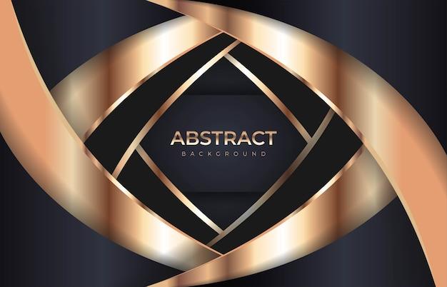 Fond sombre de luxe abstrait avec des lignes dorées et des combinaisons modernes de chevauchement. vecteur premium