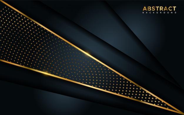 Fond sombre de luxe abstrait avec des lignes dorées