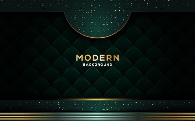 Fond sombre de luxe abstrait avec des lignes d'or et des paillettes.