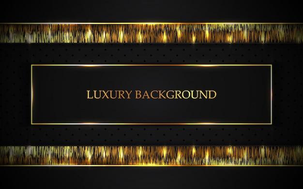 Fond sombre de luxe avec décoration lumineuse dorée
