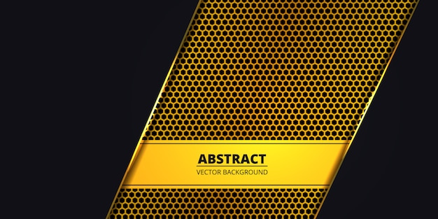 Fond sombre de luxe avec fibre de carbone hexagonale dorée. abstrait avec des lignes lumineuses dorées. toile de fond de luxe moderne futuriste. .