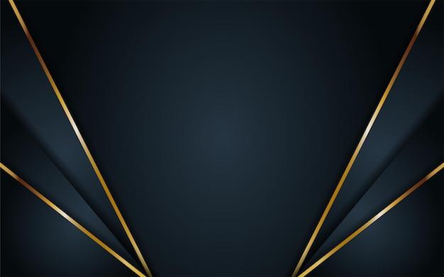 Fond sombre de luxe avec forme géométrique et combinaison d'éléments dorés