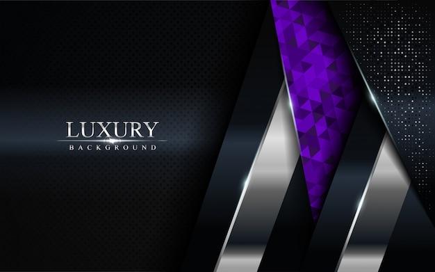 Fond sombre de luxe avec des lignes bleues, violettes et argentées