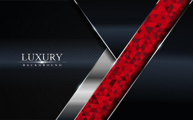 Fond sombre de luxe avec mosaïque rouge et lignes argentées
