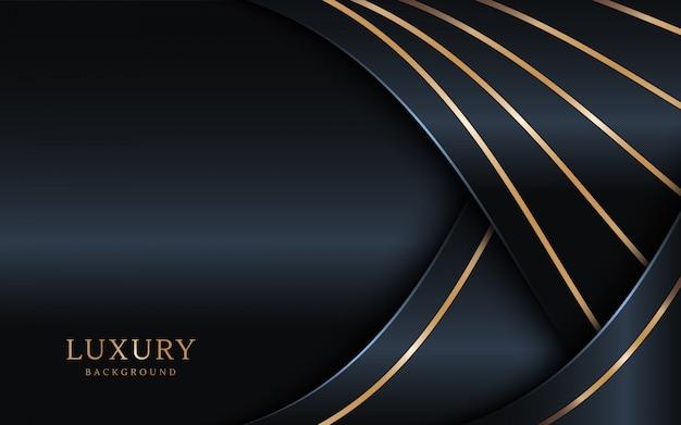 Le fond sombre de luxe se combine avec l'élément de lignes dorées.