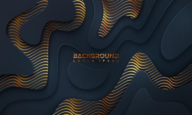 Fond sombre de luxe texturé et ondulé avec une combinaison de lignes brillantes.