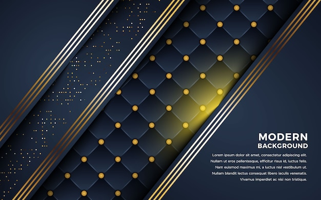Fond sombre luxueux avec combinaison de lignes dorées.