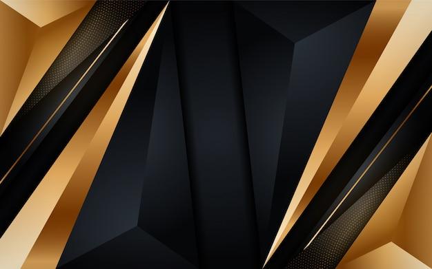 Fond sombre moderne brillant doré avec élément de points d'or.