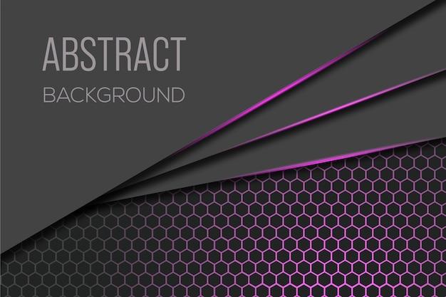 Fond sombre moderne avec un design hexagonal brillant violet