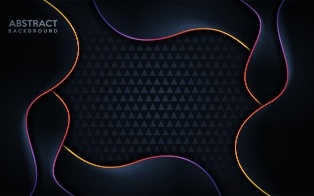 Fond sombre moderne avec ligne colorée arc-en-ciel.
