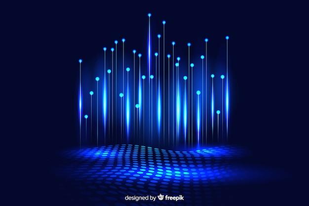 Fond sombre de particules technologiques tombant