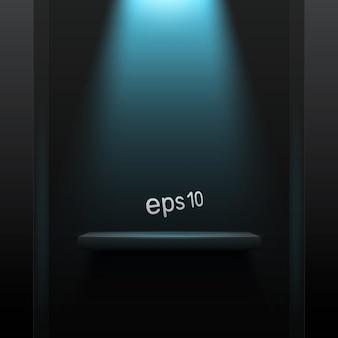 Fond sombre simple avec rétro-éclairage bleu. espace libre pour votre produit.