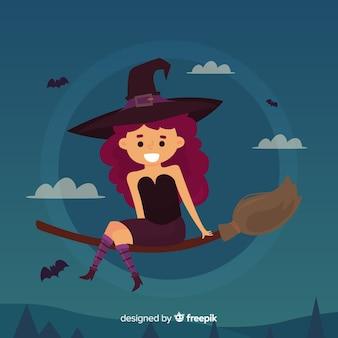 Fond de sorcière halloween plat