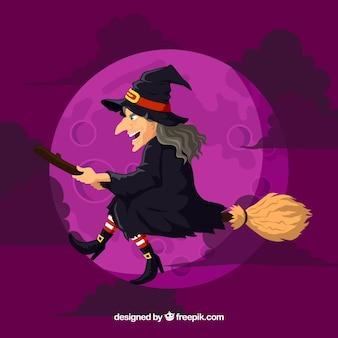 Fond de sorcière violette avec balai