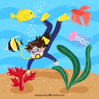 Fond sous-marin avec des caricatures d'animaux aquatiques