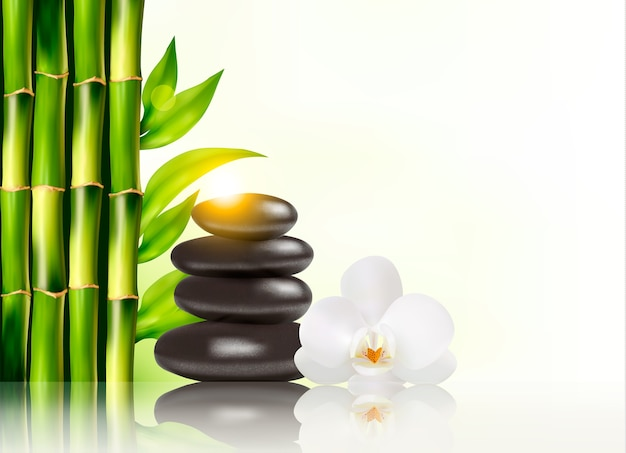Fond de spa avec bambou et pierres.