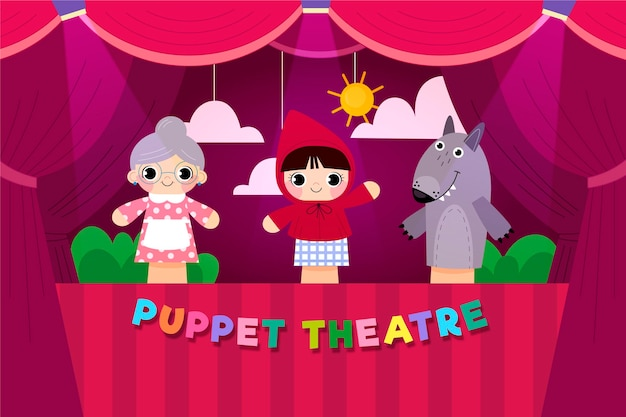Fond de spectacle de marionnettes de dessin animé