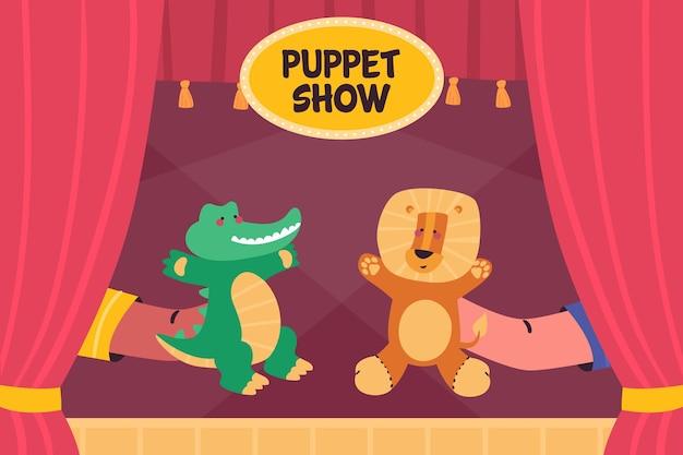 Fond de spectacle de marionnettes plat organique illustré