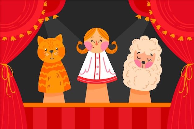 Fond de spectacle de marionnettes plat organique