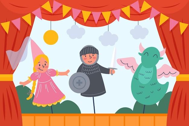 Fond de spectacle de marionnettes théâtrales