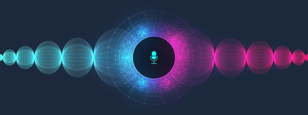Fond de spectre de flux d'ondes d'égaliseur de reconnaissance vocale et sonore. concept d'assistant vocal. onde sonore vectorielle. assistant personnel et illustration vectorielle de reconnaissance vocale concept gradient.