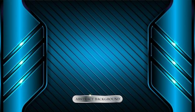 Fond de sport abstrait cadre géométrique bleu métallique