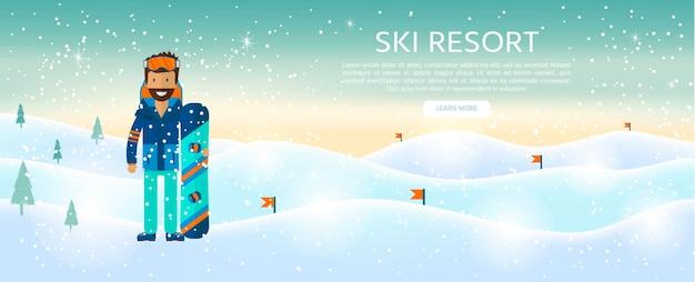 Fond de sport d'hiver avec caractère et ski, équipement de snowboard dans un style plat. éléments pour photo de station de ski, activités de montagne, illustration vectorielle.